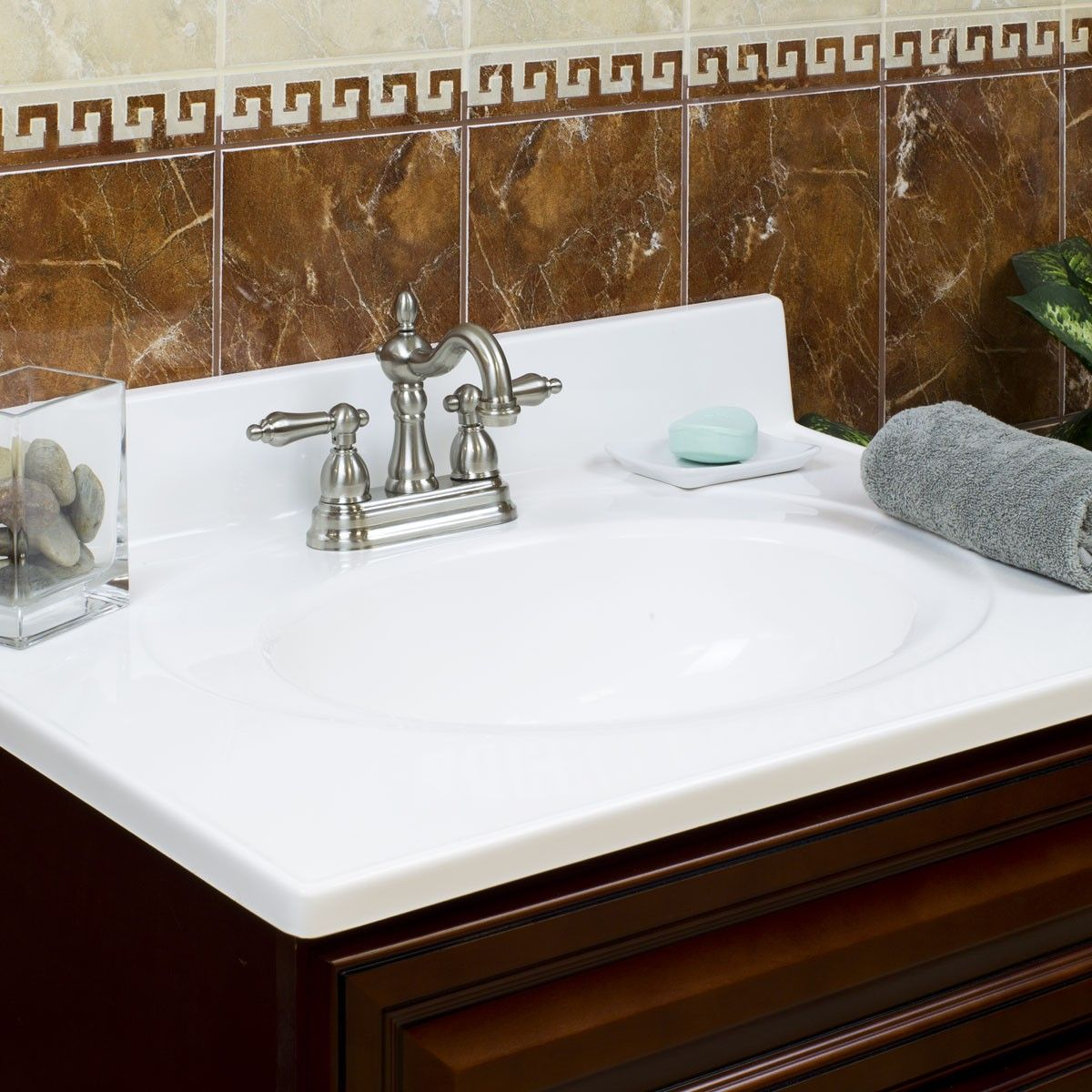 25 X 19 Lesscare White Cultured Marble Vanity Top With Flush Oval Bowl Cultured Marble Countertops Cultured Marble Cultured Marble Vanity Tops