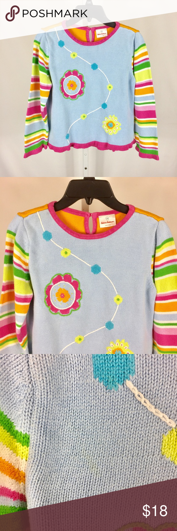 f7b7c24c8419 Hanna Andersson Girls Sweater Size 130 7/8 Mark Hanna Andersson Girls  Sweater Size 130 7/8 Blue Orange Floral Striped Slvs Mark • Bust  measurement is 16