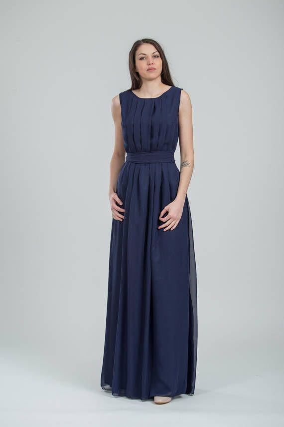 Chiffon navy bridesmaid dress long Blue Grecian style gown for women ...