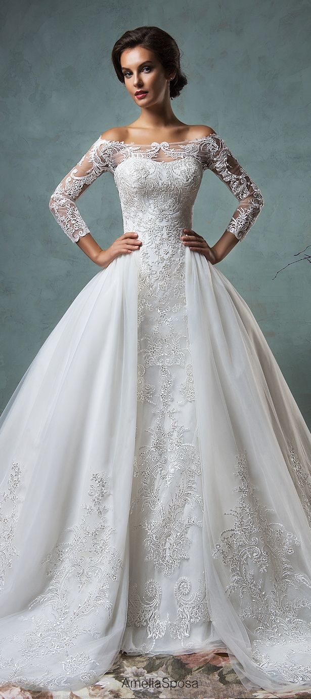 Fancy 2016 Wedding Dress With Sleeves Off The Shoulder Jacket Overskirt Lace Mermaid Dresses Gowns