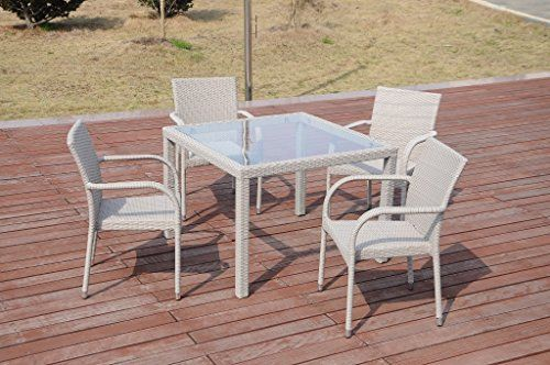 5 Pc Patio Resin Outdoor Wicker Dining Set Square Table Wglass4 Arm Chair Gray Color Outdoor Wicker Patio Furniture Wicker Patio Furniture Gray Patio Furniture