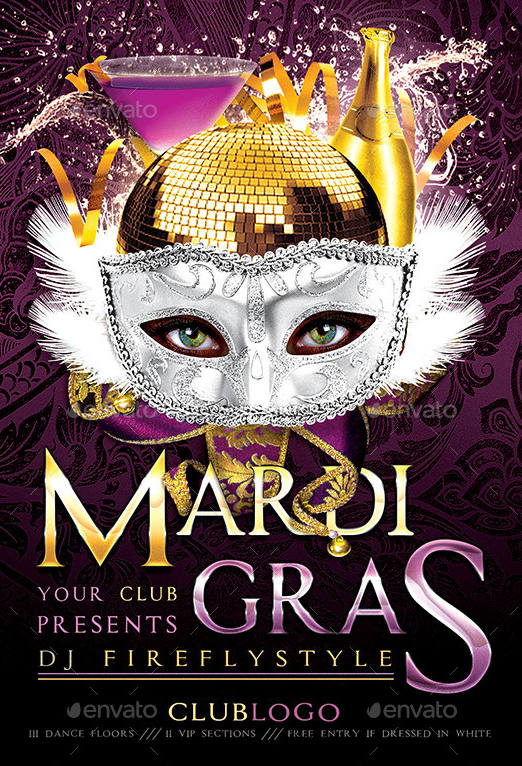 Best  Mardi Gras Party Flyer Templates Psd  Best  Mardi Gras