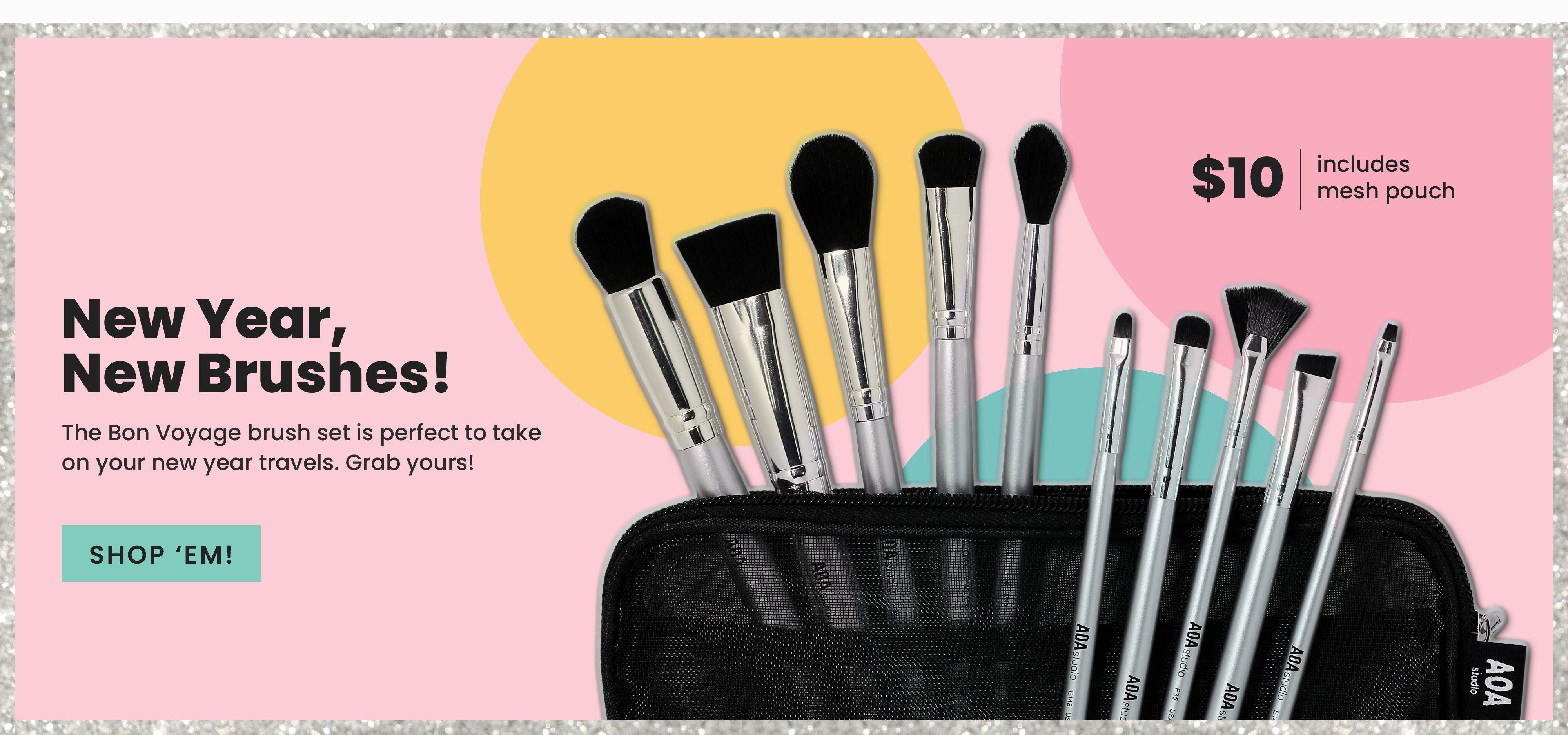 10Piece Bon Voyage Brush Set Dollar makeup, Brush set