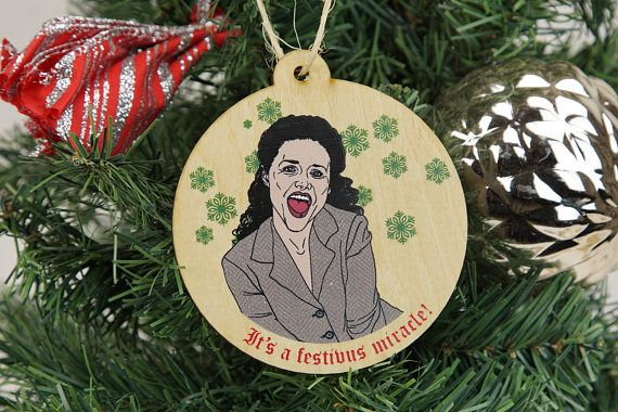 Seinfeld Christmas Ornaments Set of 4, Seinfeld Inspired Festivus