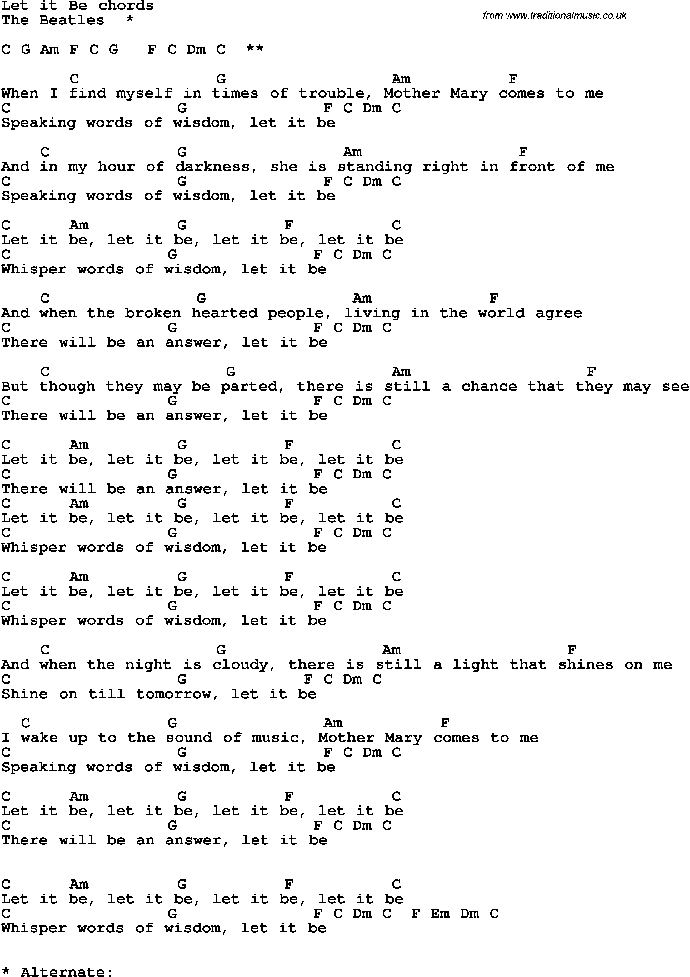 Let It Be Lyrics Beatles Song Lyrics With Guitar Chords For Let It