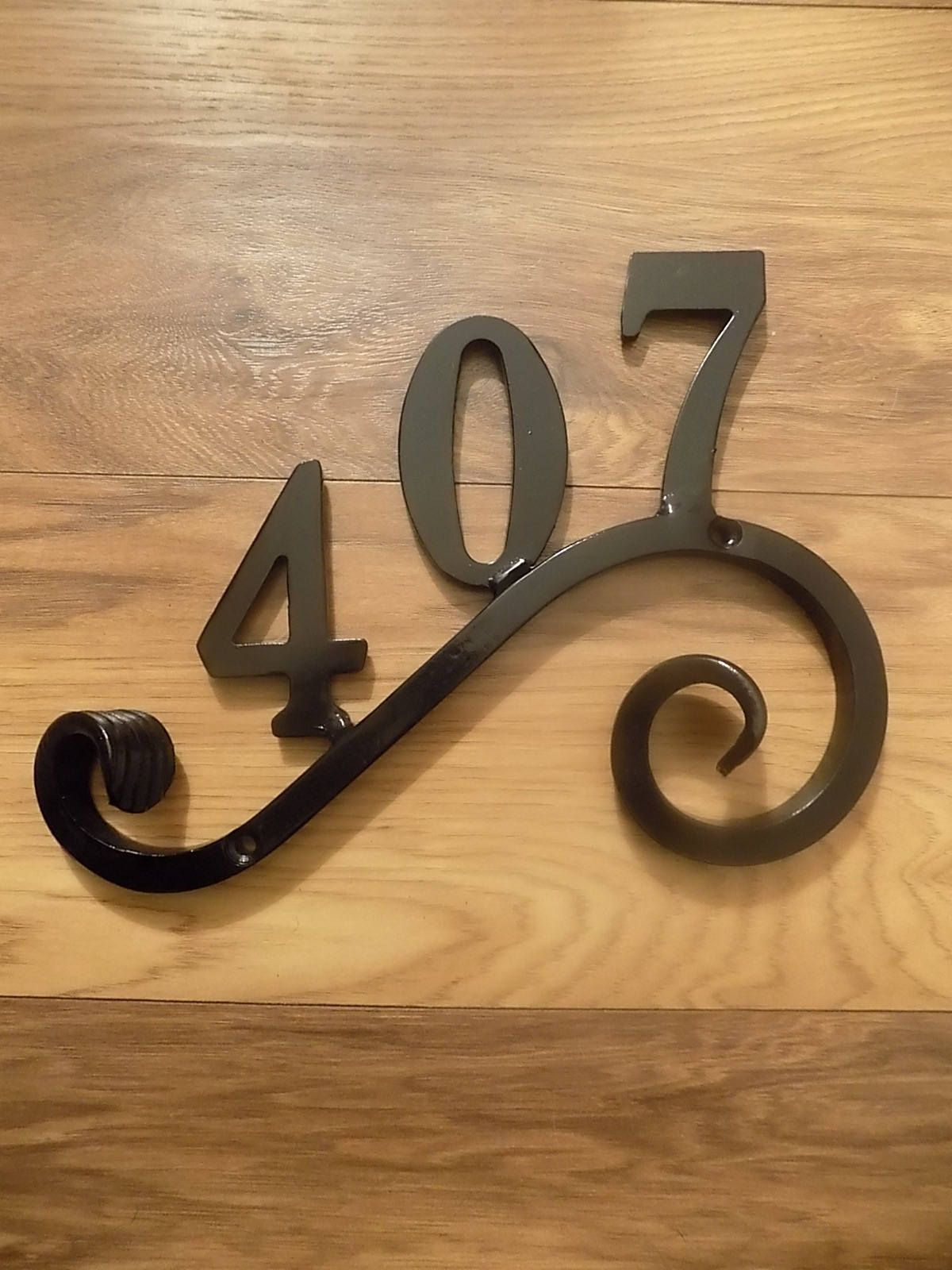 Wrought Iron Forged Steel 3 Number House Plaque