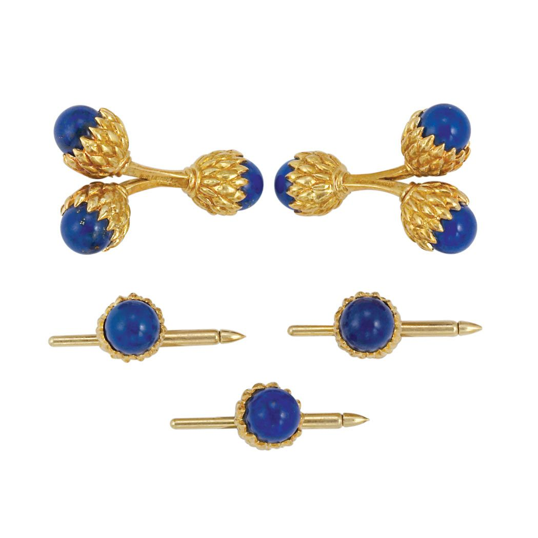 Gold and Lapis Dress Set, Tiffany & Co., Schlumberger 18 kt., pair of cufflinks & 3 studs, signed Tiffany & Co., Schlumberger, ap. 20 dwt.