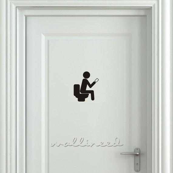 Smartphone Addict Toilet Sign Bathroom Funny Door Sticker Decal Toi