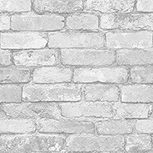 White And Silver Rustic Brick Effect Wallpaper Windsor Wallcoverings Fd41488 Co Uk Diy Tools