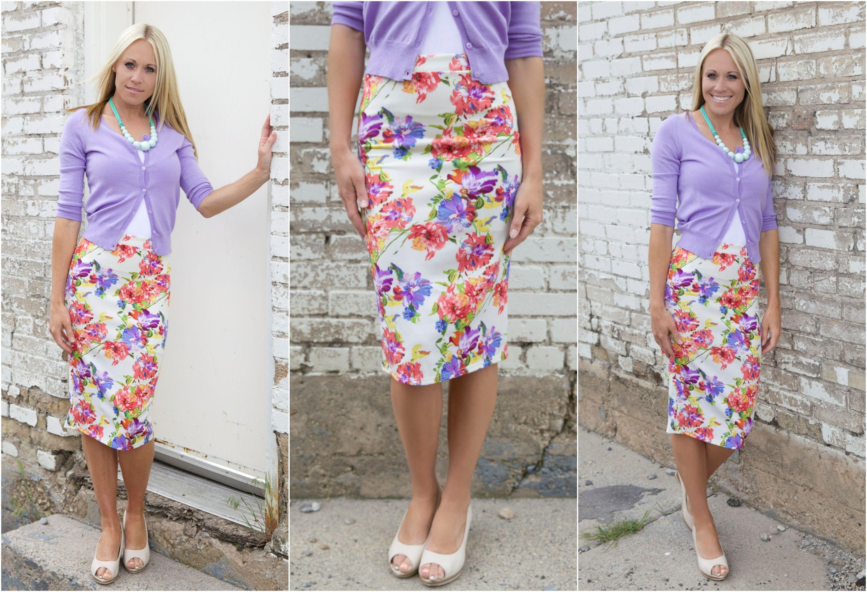 High Waist Floral Print Midi Skirt for just $21.99 available @The Nest On Main!
