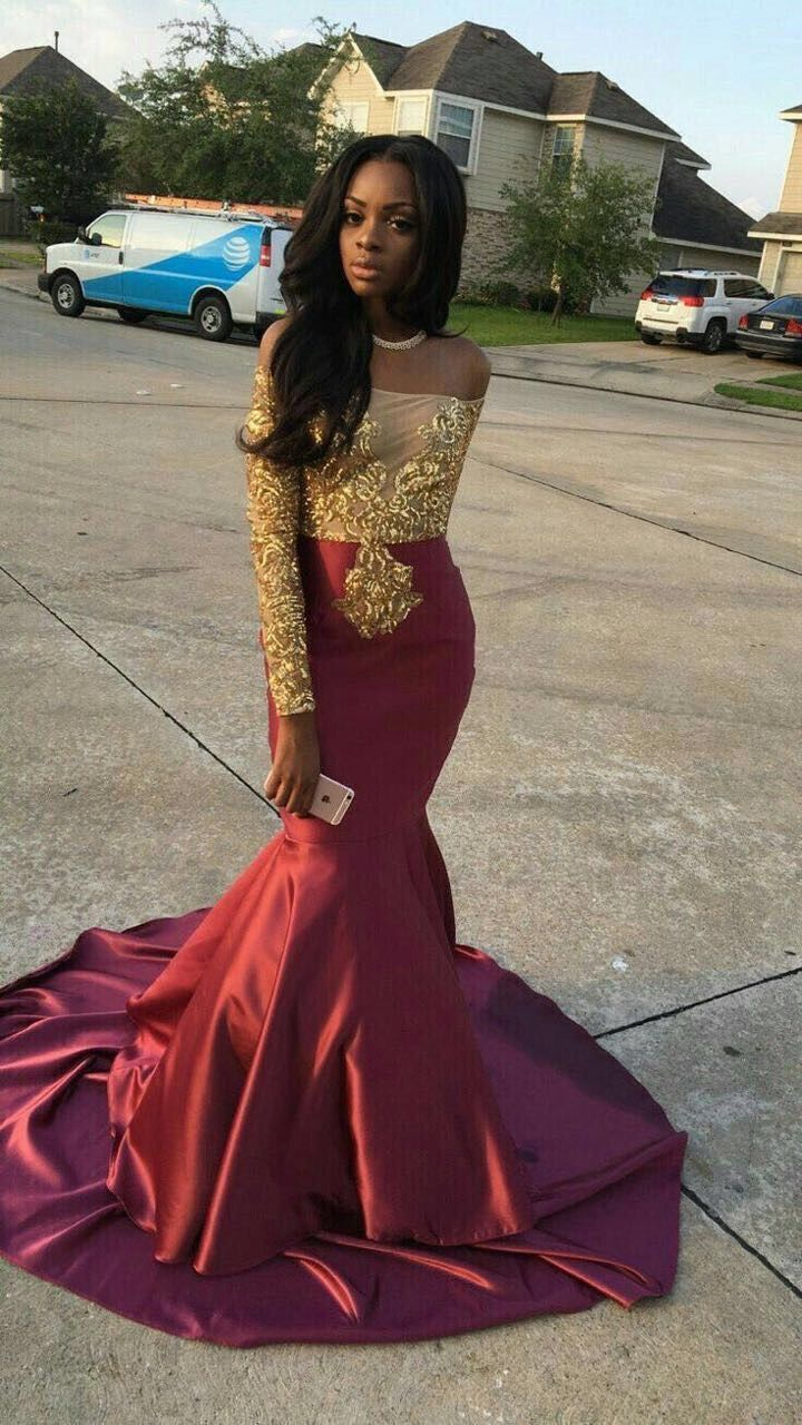 Sexy Gold Lace Appliques Long Sleeve Burgundy Mermaid Prom