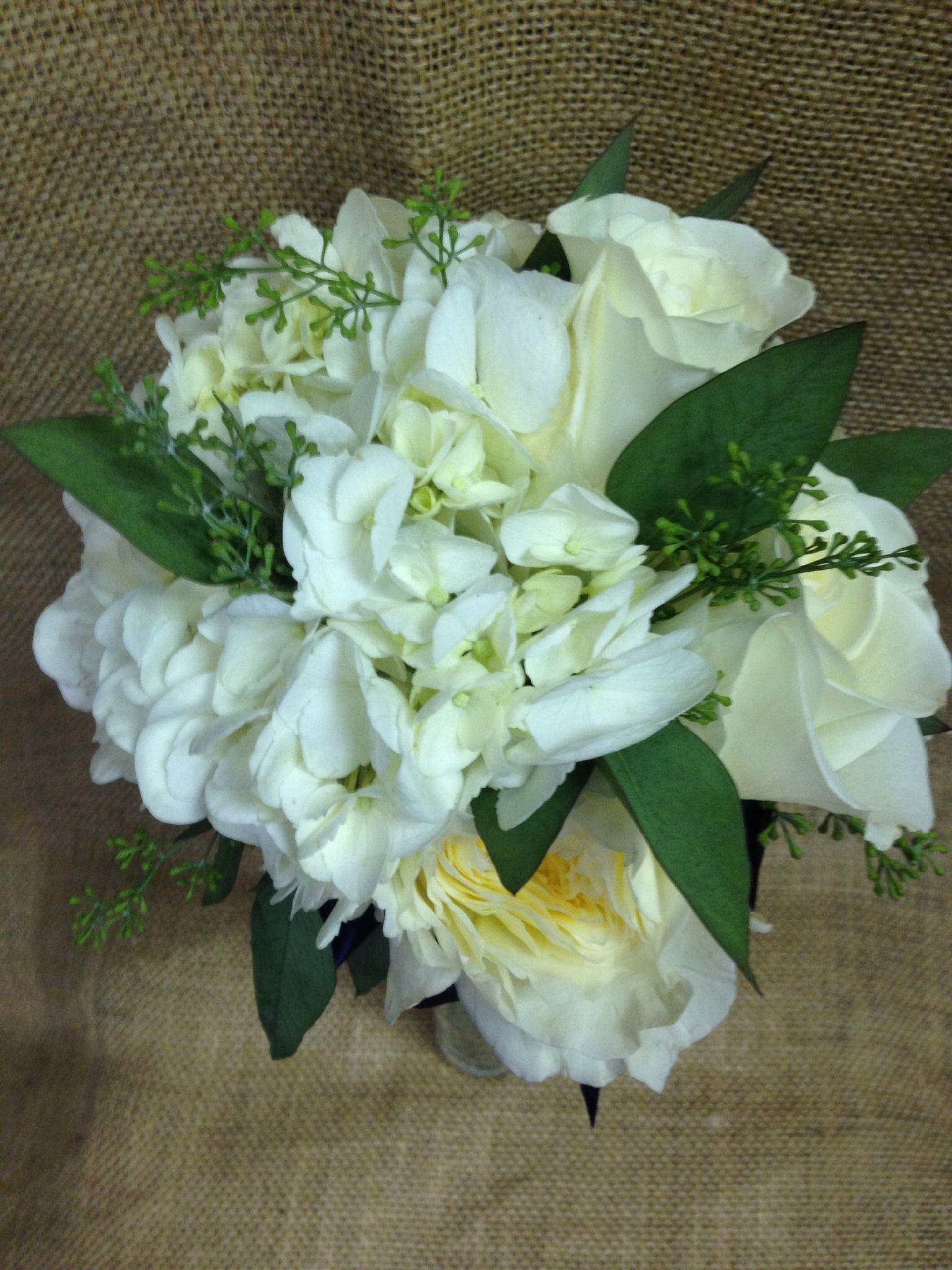 Wedding Bridesmaid Bouquet White Hydrangea White Roses White