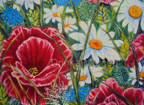 Daisy Print Watercolor Daisy Painting Daisy Art Floral Art