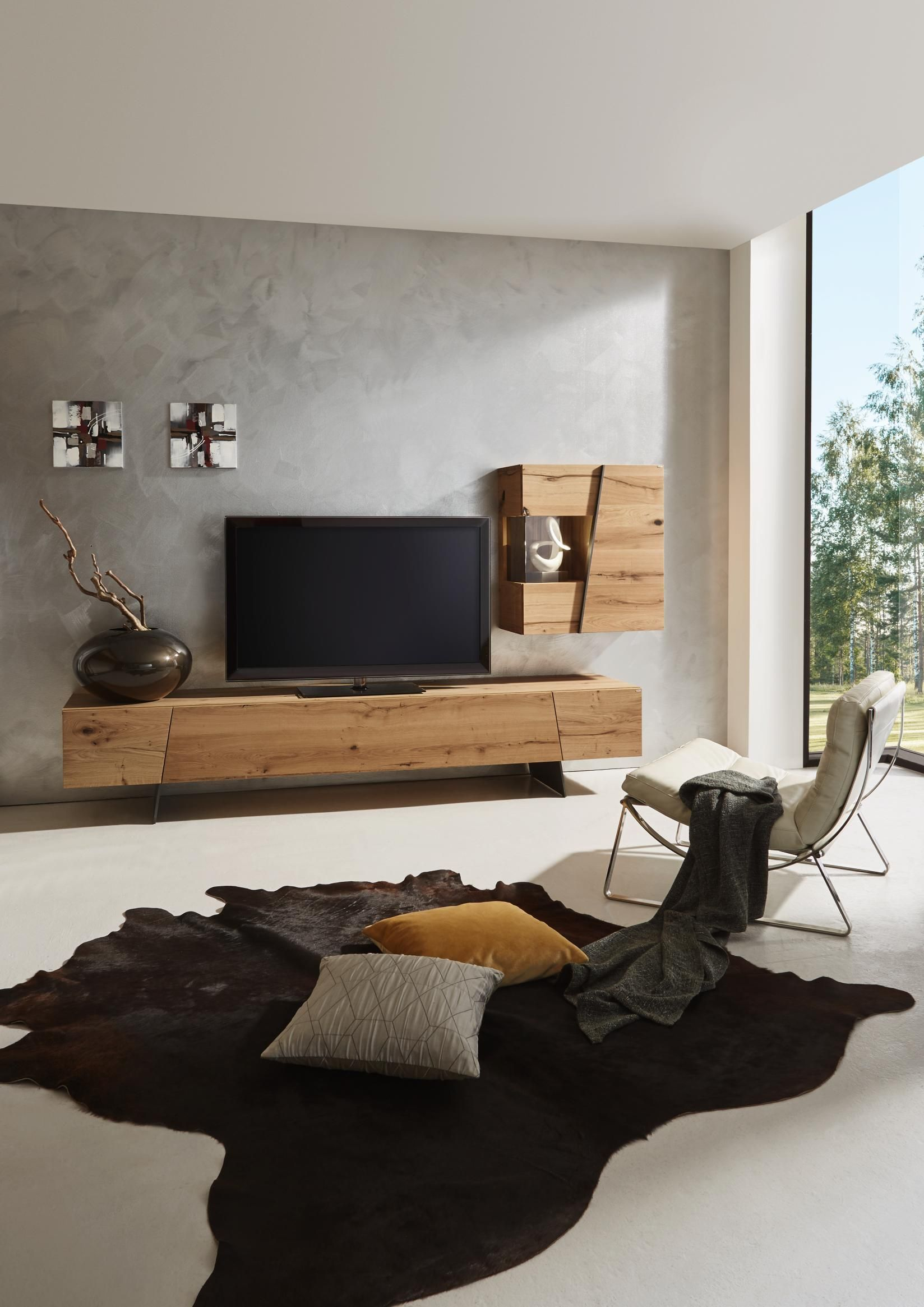 wohnwand in grau naturfarben von voglauer wohnw nde. Black Bedroom Furniture Sets. Home Design Ideas