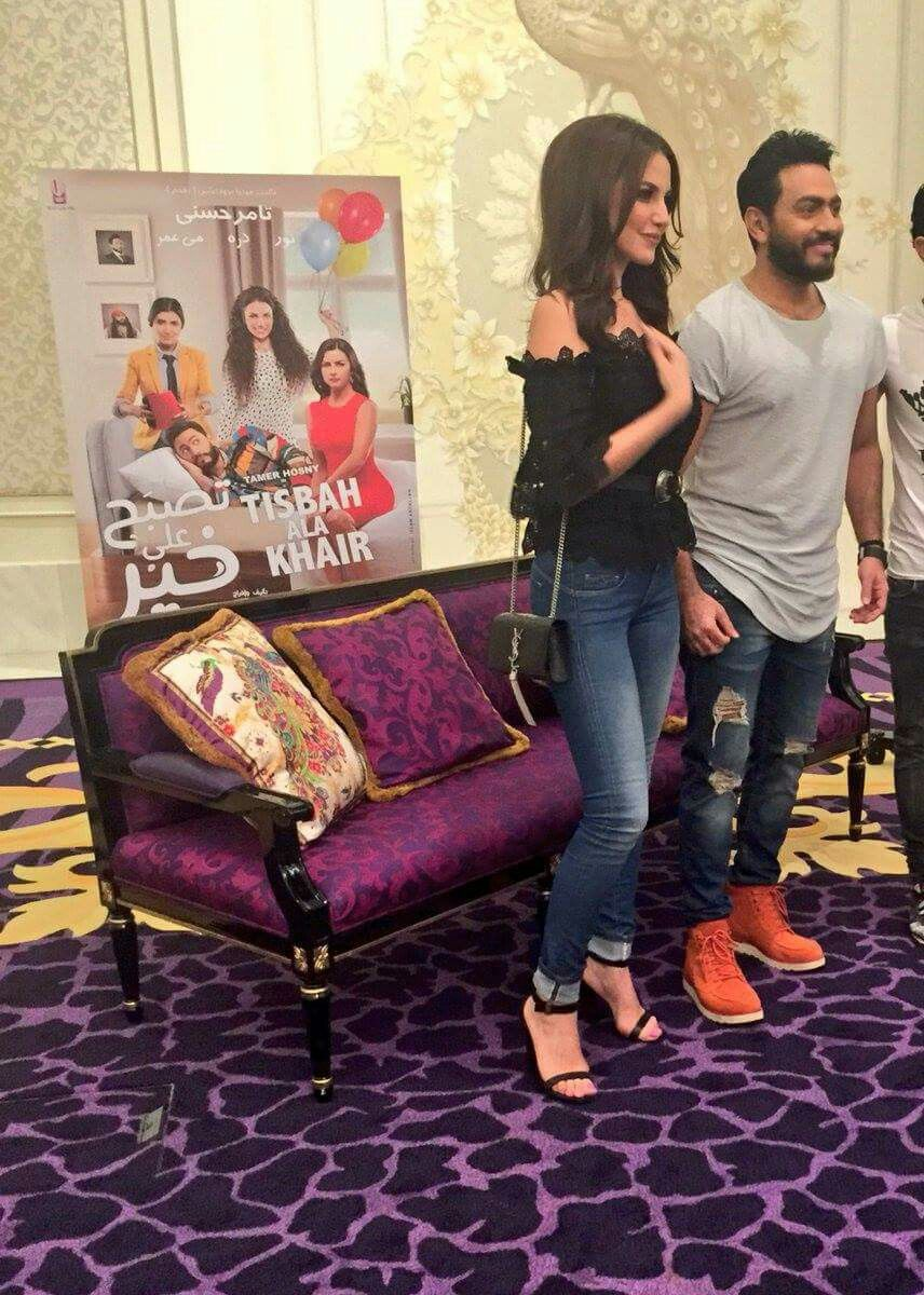 Stars Tamer Hosny And Dorrazarrouk Are In Dubai To Talk All About Their Rom Com Tisbah Ala Khair Releasing In Uae On July 6 July 6th Rom Stars