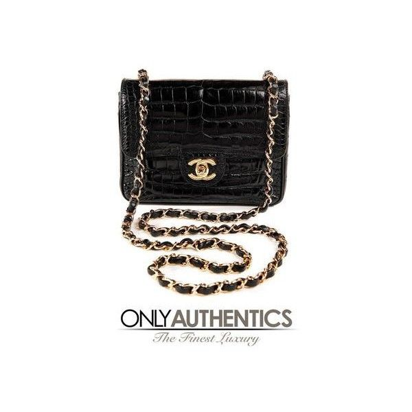 2dcbbdf9b Pre-Owned Chanel Vintage Black Crocodile Mini Classic Flap Bag ($16,045) ❤  liked on Polyvore featuring bags, handbags, shoulder bags, black, ...