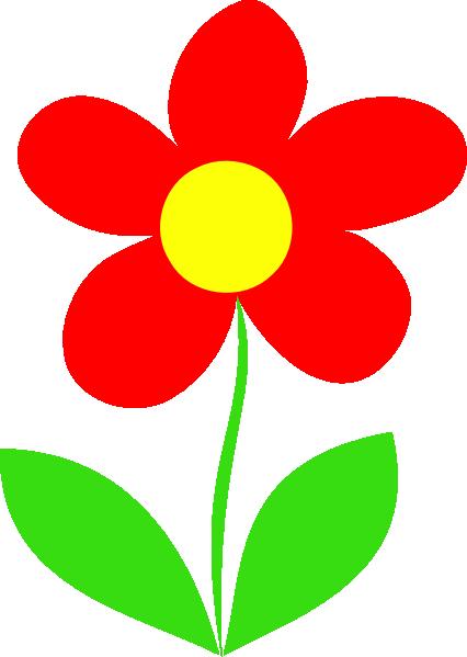 Flower With Stem Clipart Red | Clip art, Flower art, Art