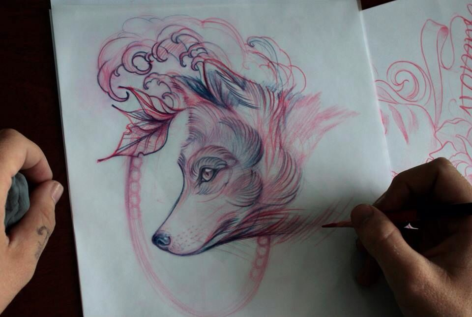 Fox tattoo sketch drawing