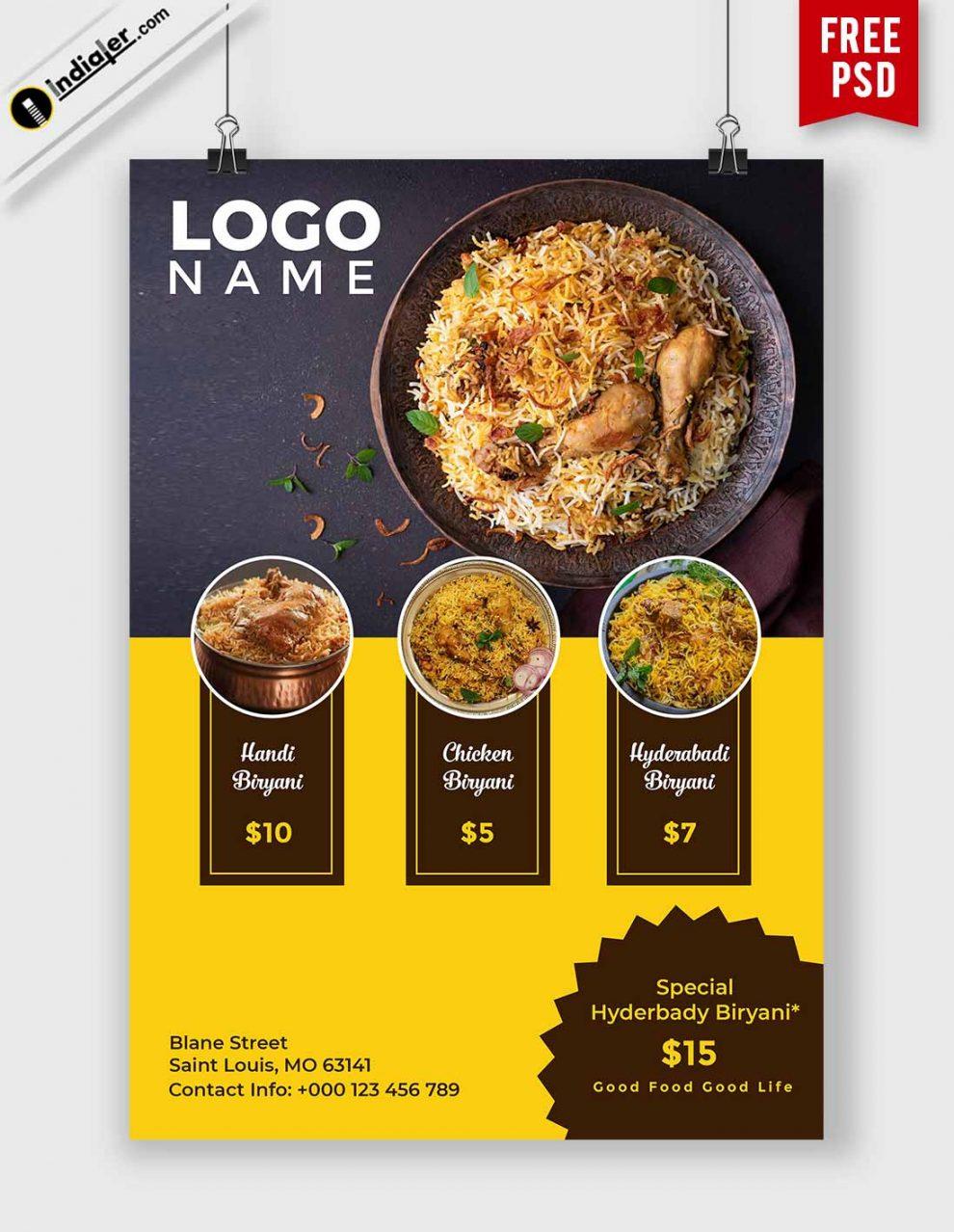 Download Best Biryani Food Flyer Free Psd Template Indiater Food Menu Design Brochure Food Food Poster Design