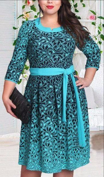 Casual Women 2016 plus size women clothing prining flower female dress o-neck knee-length dresses XL 2XL 3XL 4XL 5XL 6XL