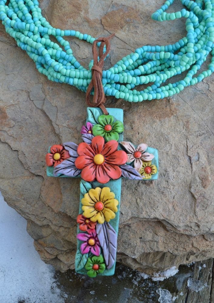 Cowgirl Bling Clay CROSS Flowers Turquoise Bead Gypsy necklace #Unbranded #BEADEDwithpendant