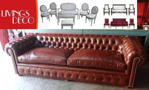 Sillon chester sofa chesterfield cuero vacuno living for Sillon chesterfield cuero