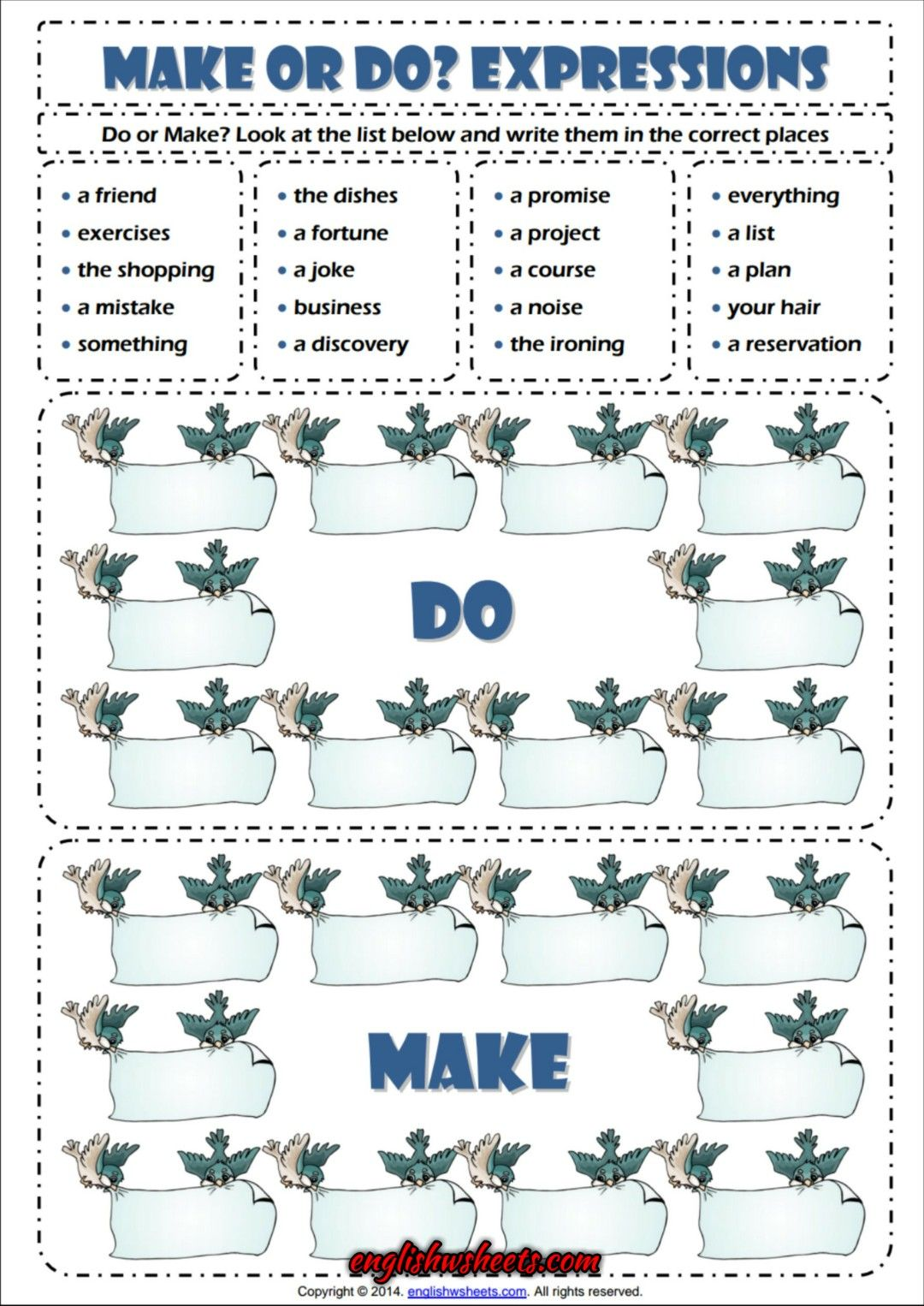 Make Or Do Matching Exercise Esl Grammar Worksheet