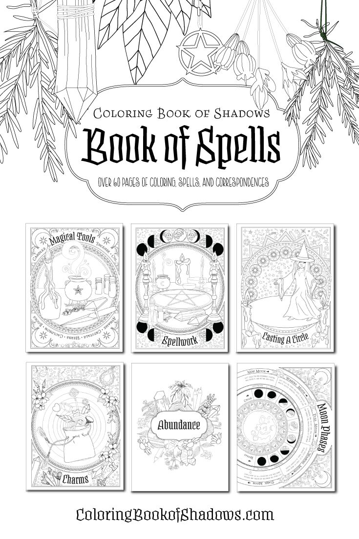 Book Of Spells Book Of Shadows Coloring Books Book Of Shadow