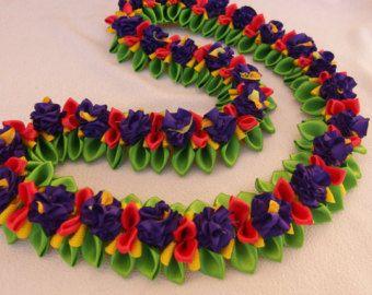 Tropical flower flat ribbon lei - Edit Listing - Etsy
