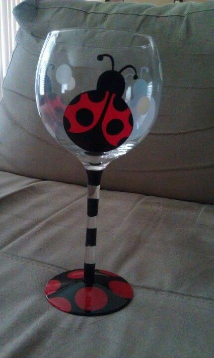 Painted Ladybug Wine Glasses Whimsical