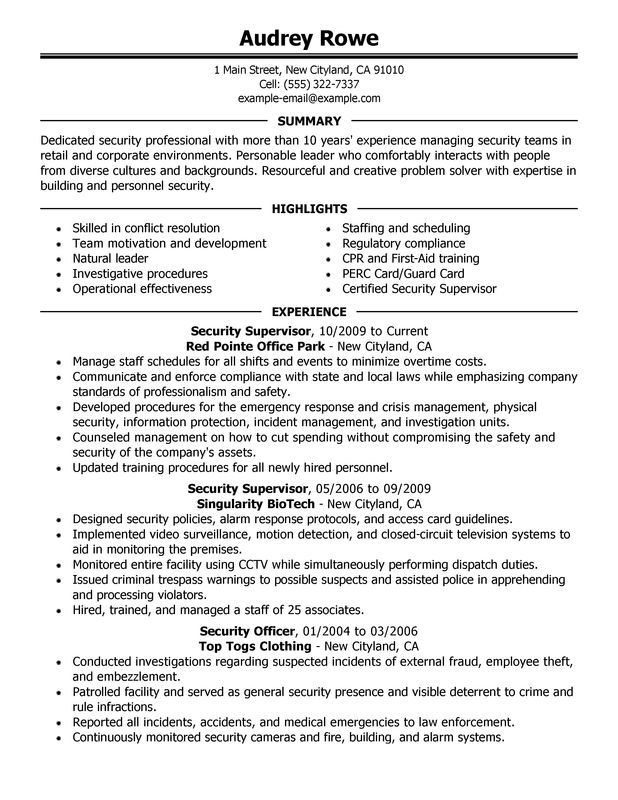 Security Supervisor Resume Sample Work Related Pinterest - security guard resume objective
