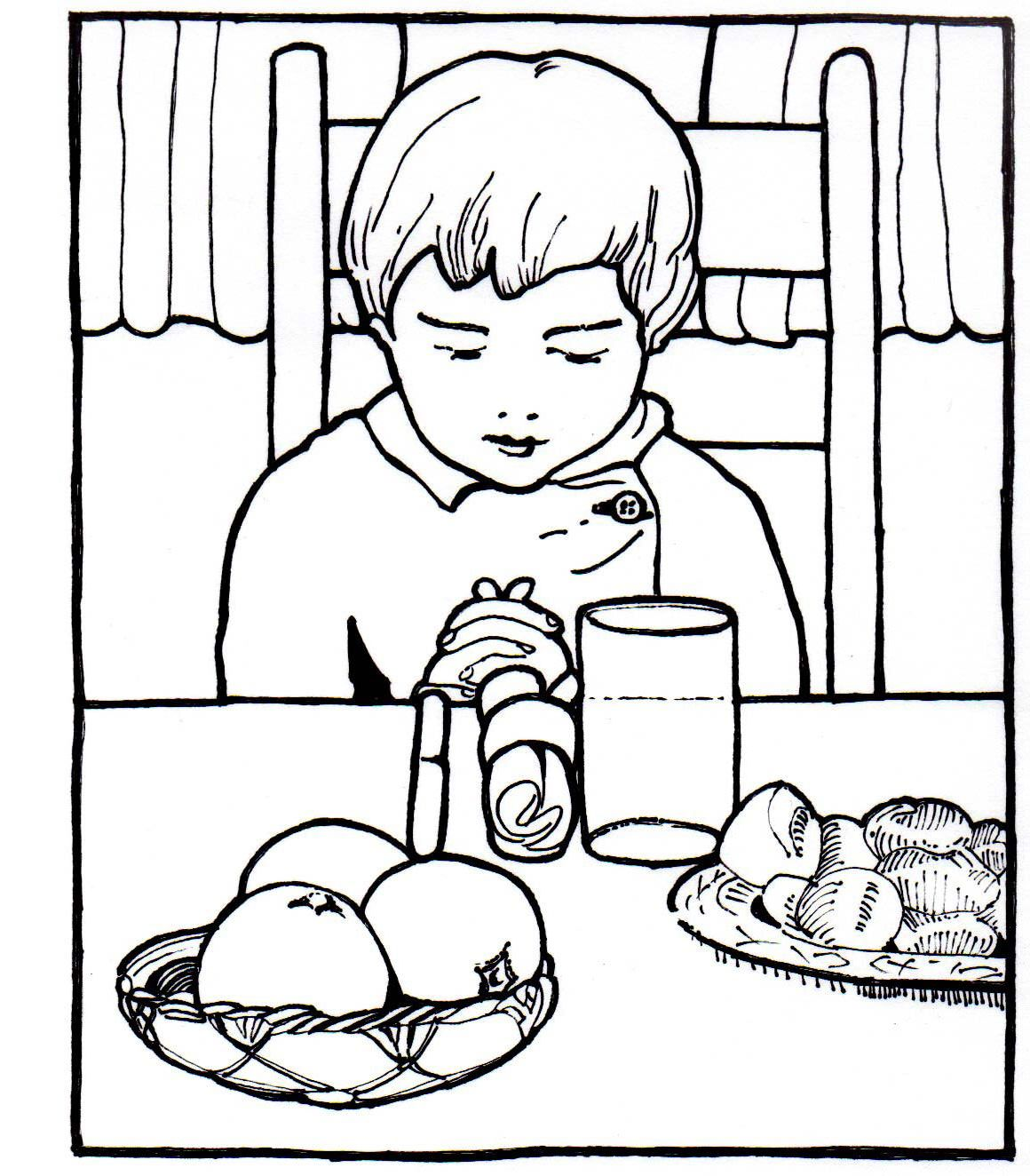 Coloring page of a boy praying grace before a meal story of bible