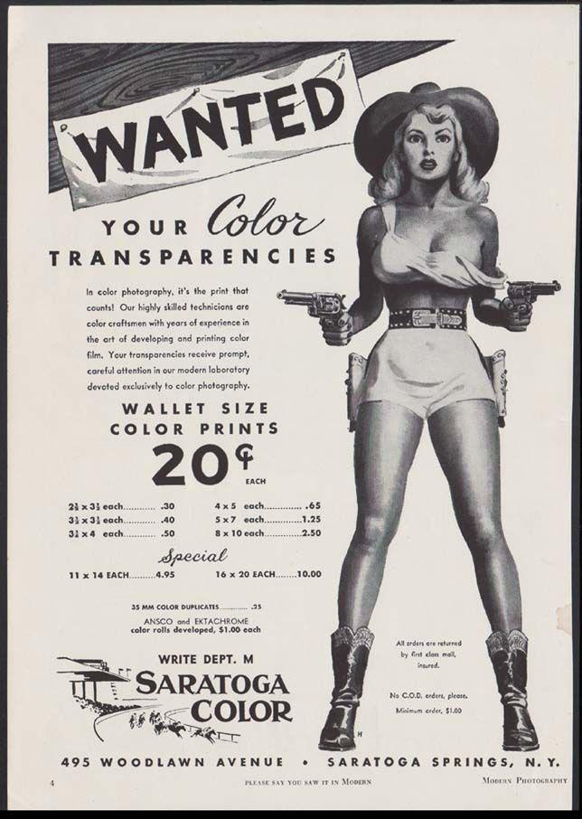 1952 Saratoga Color Prints Advertisement