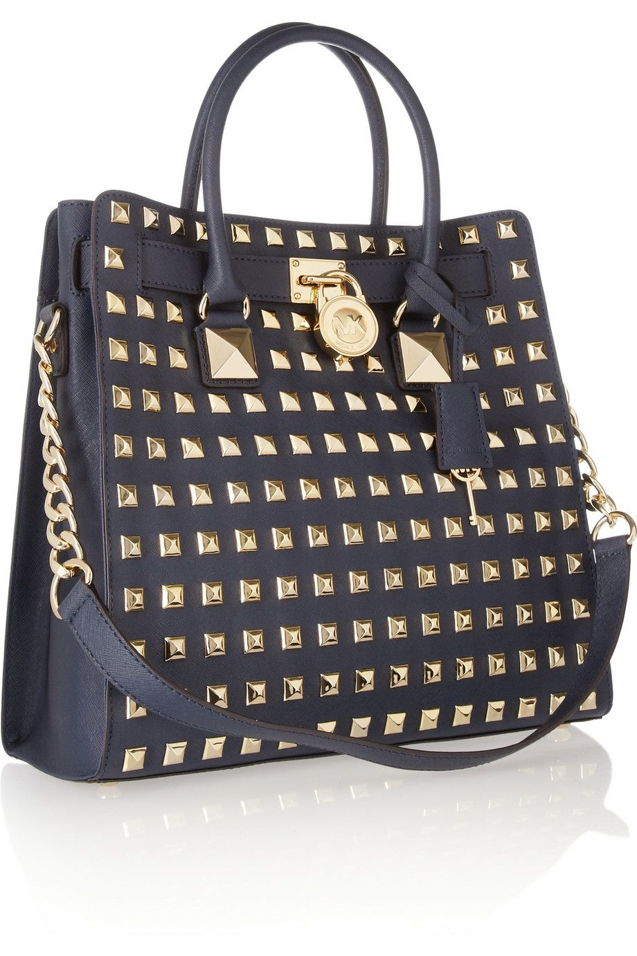 MICHAEL Michael Kors | Hamilton studded textured-leather tote | NET-A-PORTER.COM