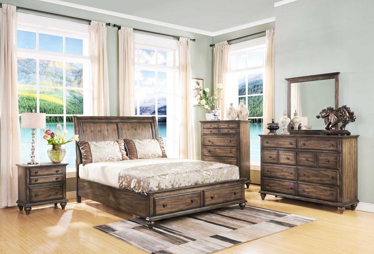New Classic Fallbrook 00 446 Weathered Brown Storage Bedroom Set King Bedroom Sets Master Bedroom Furniture Bedroom Set