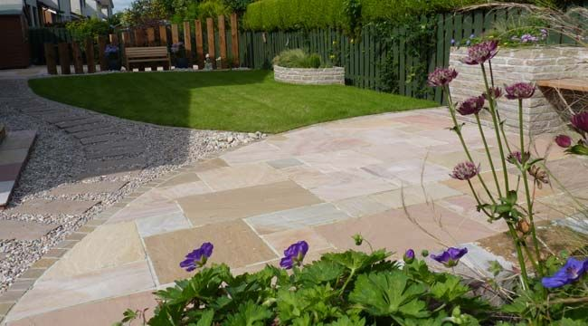 Inviting, Modern, But Low Maintenance. Patio With A Curve, With Lawn U0026