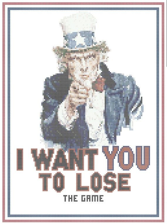 I Want You to Lose The Game Counted Cross Stitch by robinsdesign, $5.00