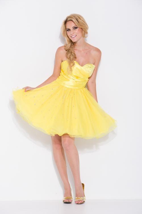 Short Yellow Homecoming Dresses 2015