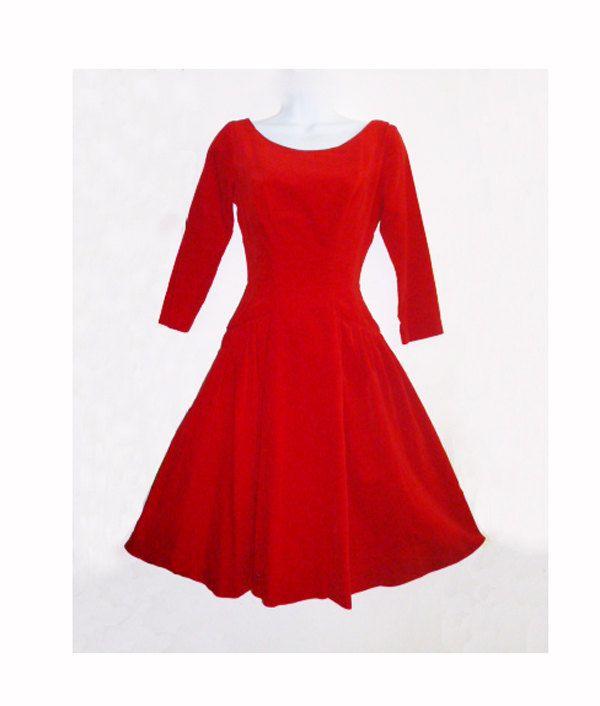 1950s Red Velvet Mad Men Holiday Dress. $165.00, via Etsy.    I had this dress and I loved,loved,loved it!!