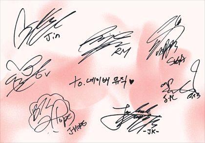 Bts Autographs Bts Bts Signatures Bts Army