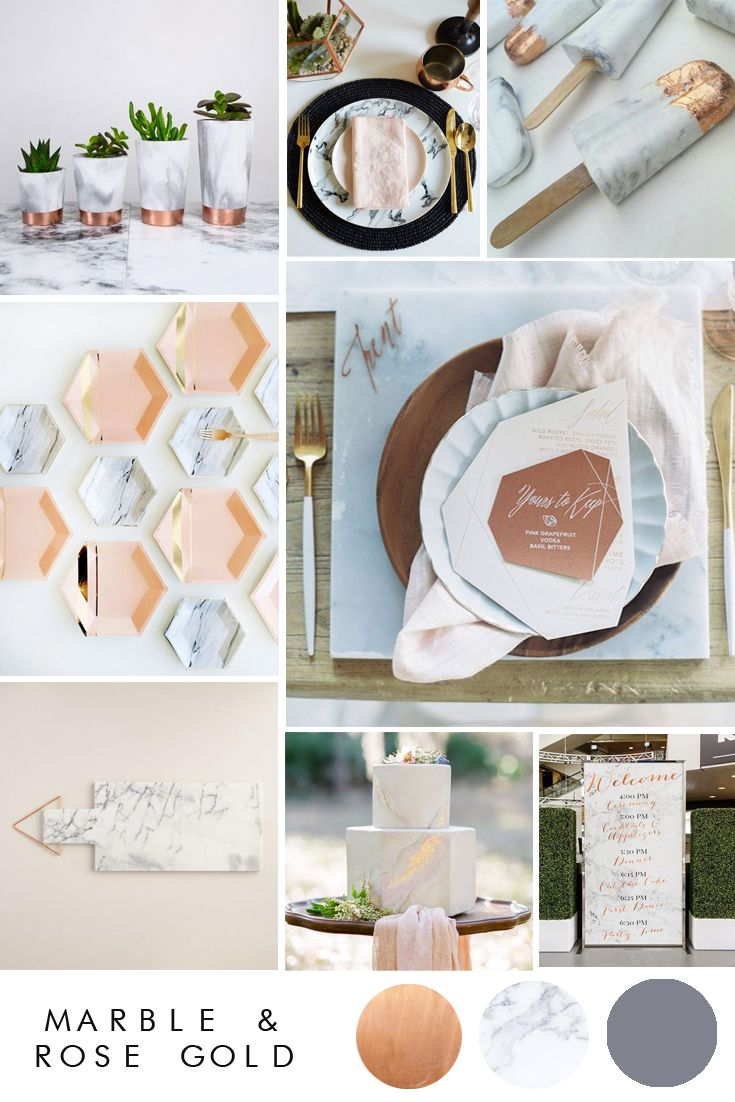 Marble and Rose Gold Wedding Inspiration | Marbles, Rose gold ...