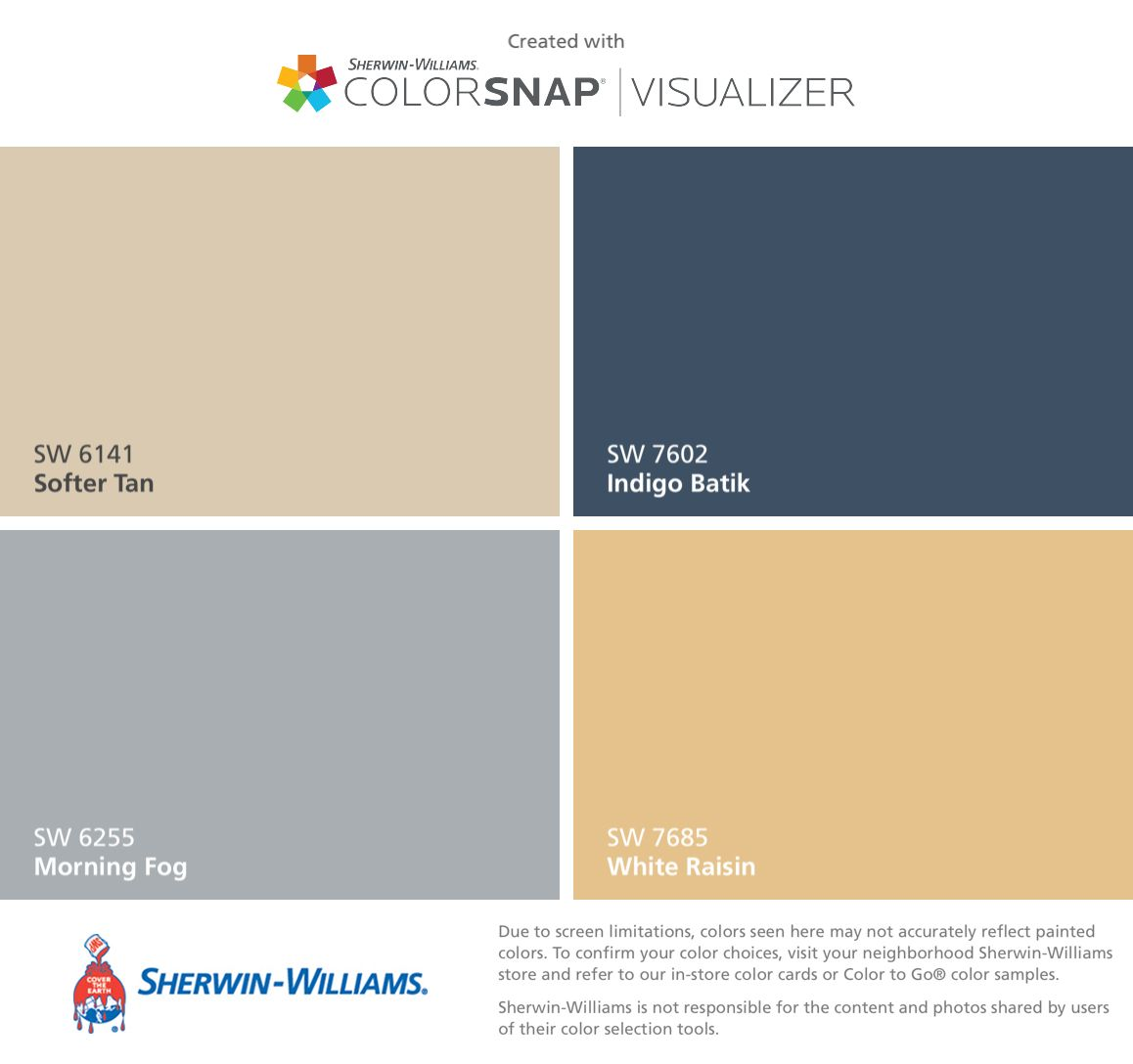 Downstairs Color Plan Sherwin Williams Softer Tan Sw 6141 Morning Fog 6255 And White Raisin 7685 Will Likely Replace The Indigo Batik