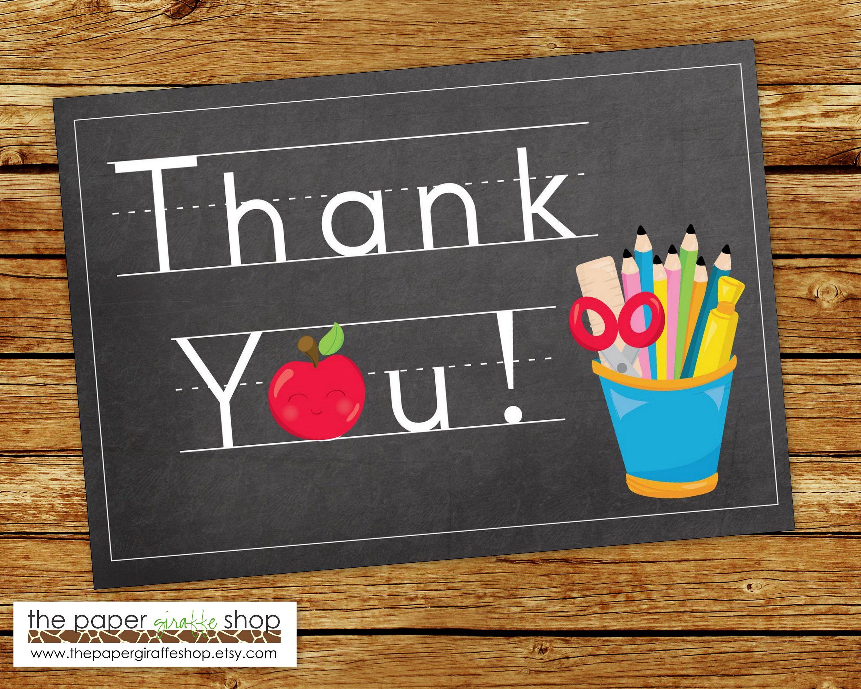 teacher thank you card  teacher theme thank you card
