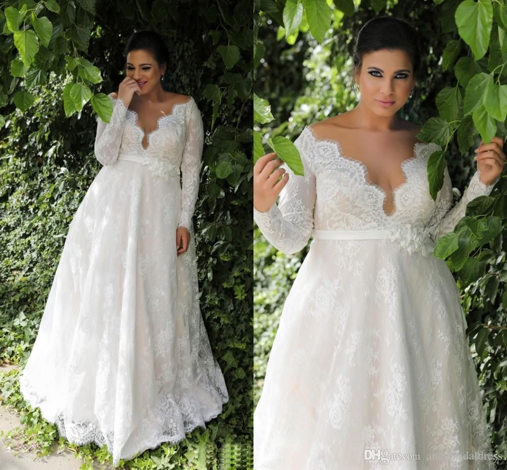 Cheap garden a line empire waist lace plus size wedding dress with