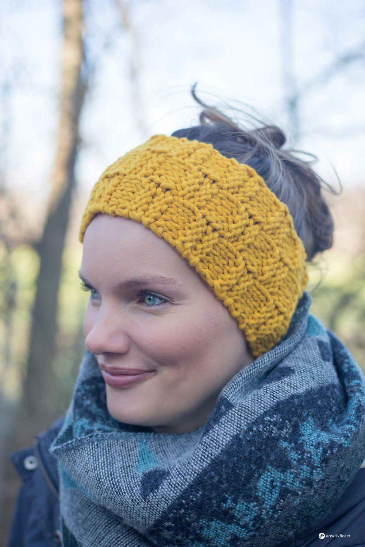 DIY Stirnband mit Schachbrettmuster stricken - einfache DIY ...