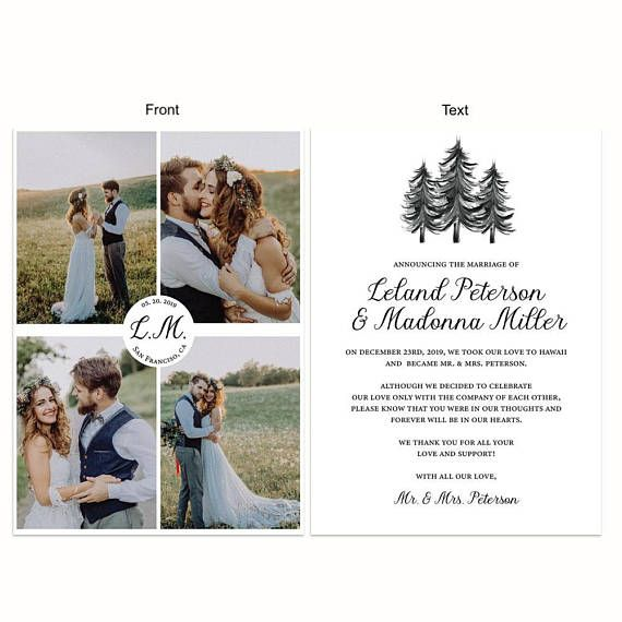 minimalist and simple elopement announcement cards these are so