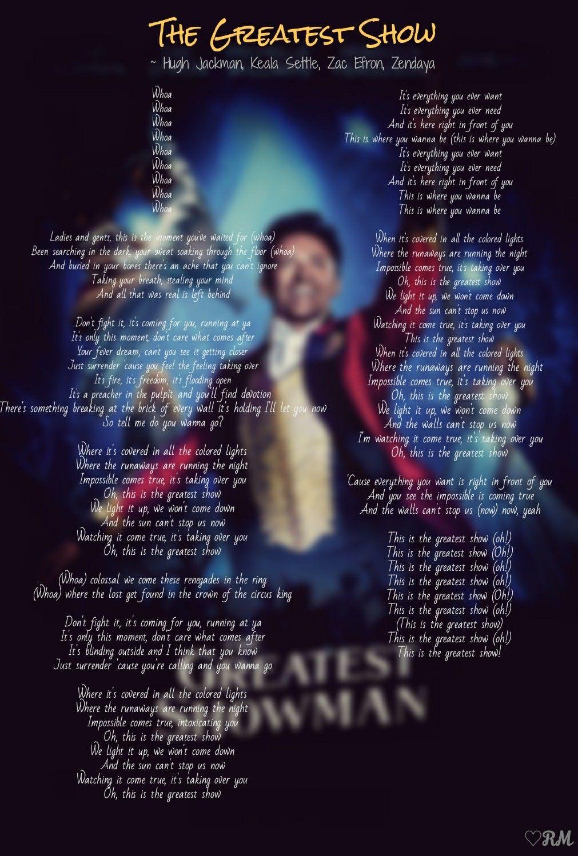 The Greatest Showman Lyrics The Greatest Show Edits Rm Showman Movie The Greatest Showman Greatful