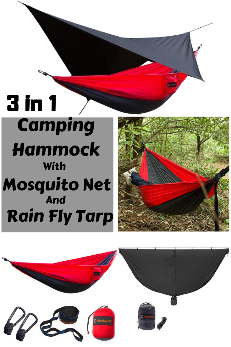 3 In 1 Camping Hammock With Mosquito Net Waterproof Rain Fly Tarp For Outdoor Best Camping Hammock Hammock Camping Hammock With Mosquito Net