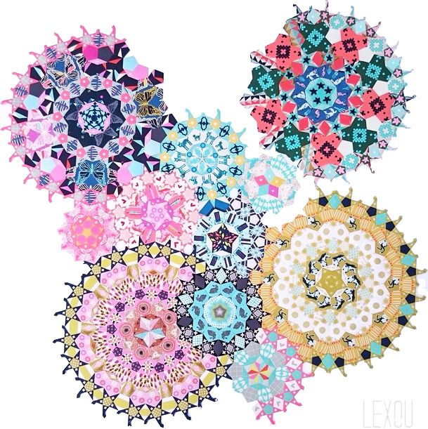 La Passacaglia Quilt Rosettes made by Alexandra Luenz using Cotton+Steel fabric. Pattern from Millefiori Quilts by Willyne Hammerstein. Photo from instagram account @alexouq