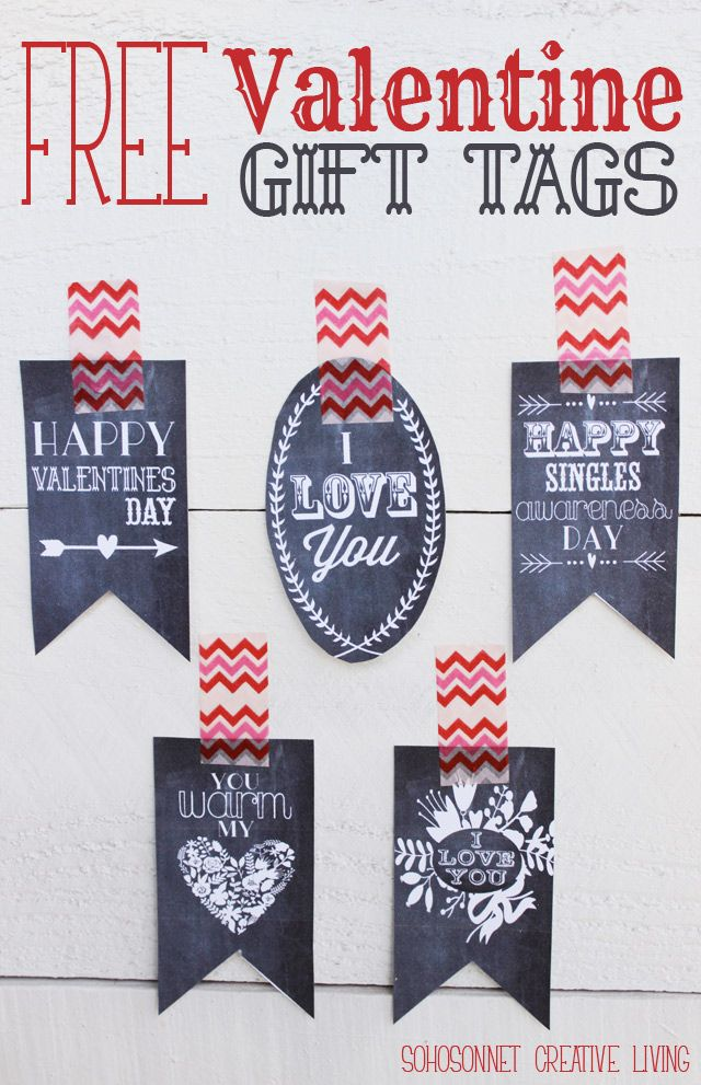 Free valentine gift tag printables free printable valentines free free printable valentine gift tags in chalkboard and color versions sohosonnet creative living negle Image collections